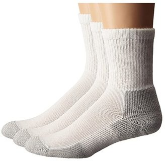 Thorlos Running Crew 3-Pair Pack (White/Platinum) Crew Cut Socks Shoes