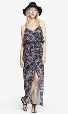 Express Floral Ruffle Top Maxi Dress