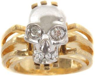 Alexander McQueen Gold Art Deco Skull Ring