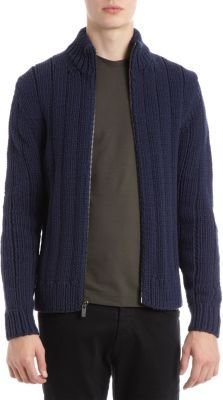 Michael Kors Chunky Knit Zip Front Sweater