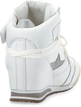 Ash Jazz Bis Star-Detailed Combo Wedge Sneaker, White/Silver