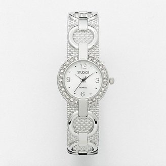 Studio time silver tone simulated crystal circle link bangle watch - women