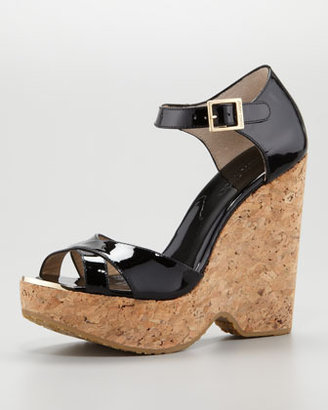 Jimmy Choo Pape Patent Wedge Sandal, Black