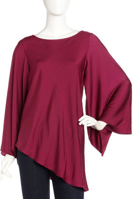 Laundry by Shelli Segal Asymmetric Bell-Sleeve Top, Red Plum