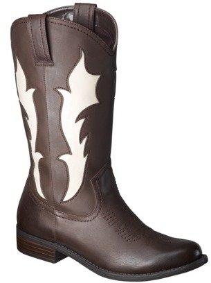 Xhilaration Women's Skye Tall Cowboy Boot with Flames - Brown/Creme
