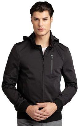 Soia & Kyo black nylon woven stowaway hood 'Todd' jacket