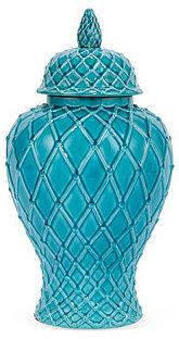 """20"""" Ginger Ceramic Jar, Aqua"""