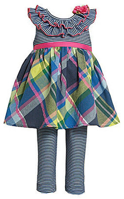 Bonnie Baby Infant Striped/Plaid Dress & Striped Leggings Set