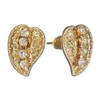 Lauren Conrad gold tone simulated crystal leaf stud earrings