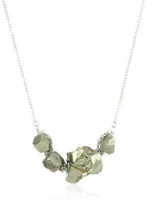 Yochi Design Yochi Wire Wrap Pyrite Stone Silver Plated Necklace