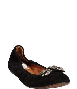 Lanvin black suede crystal embellished ballet flats