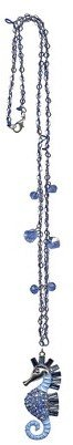 Tanya Creations, Inc. Women's Seahorse Pendant on Chain - Silver/Blue
