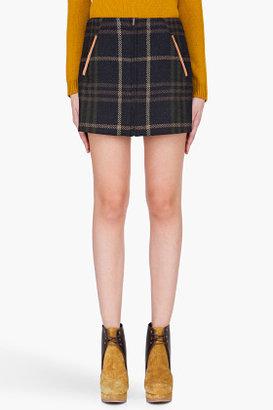 Thakoon Dark Green Plaid Miniskirt
