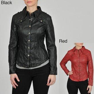 Montanaco Women's Faux Leather Shirt Jacket $56.99 thestylecure.com