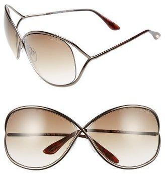 Women's Tom Ford Miranda 68Mm Open Temple Oversize Metal Sunglasses - Bronze $415 thestylecure.com
