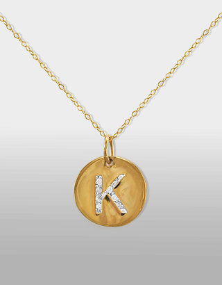"Lord & Taylor 14 Kt. Gold Diamond Initial ""K"" Pendant Necklace"