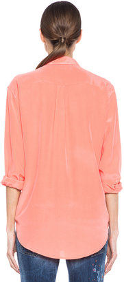 Equipment Signature Silk Blouse in Neon Orange