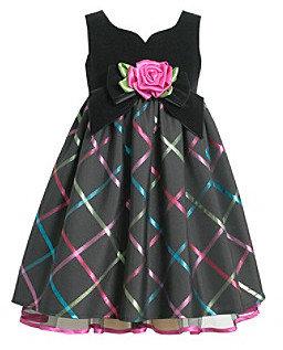 Bonnie Jean Girls' 4-6X Black Velvet Sweetheart Dress