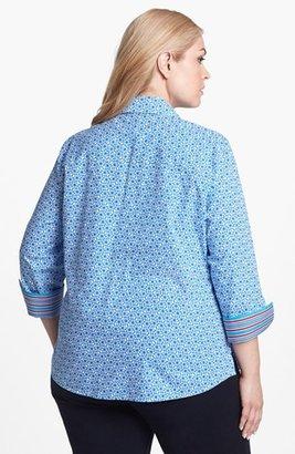Foxcroft 'Stars & Stripes' Shaped Shirt (Plus Size)