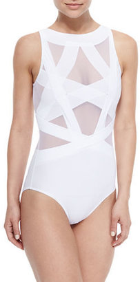 OYE Swimwear Esther Strappy Mesh One-Piece Swimsuit $350 thestylecure.com