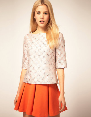 Asos Shell Top With Printed Jacquard
