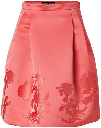 Jonathan Saunders Satin Waisted Skirt with Pleats in Pink Flower