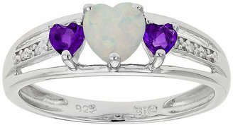 FINE JEWELRY Lab-Created Opal & Genuine Amethyst Heart-Shaped Sterling Silver Ring
