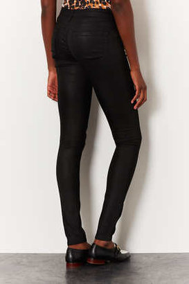 Topshop Tall MOTO Black Coated Leigh Jeans