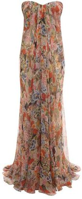 Alexander McQueen Patchwork Floral Draped Bustier Gown