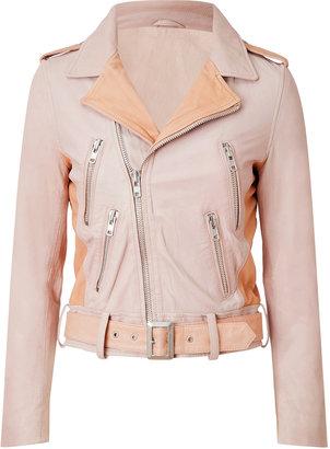 Maje Leather Biker Jacket in Rose