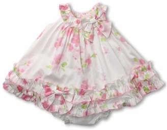 Biscotti Watercolor Poplin Baby Ruffle Hem Dress (Infant 3-9 months) (Pink) - Apparel