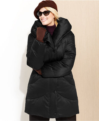 Larry Levine Plus Size Coat, Pillow-Collar Quilted Puffer