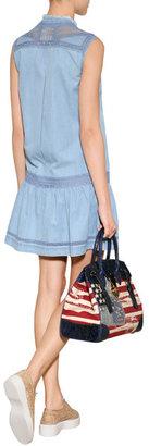 Ermanno Scervino Cotton Denim Embroidered Dress