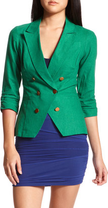 Charlotte Russe Green Double-Breasted Blazer