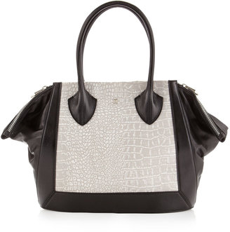 Pour La Victoire Maison Colorblock Large Tote, White/Black