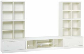 Pottery Barn Kids Cameron 4 Cubbies, XW Media Base & 2 Drawer Bases, Simply White, UPS