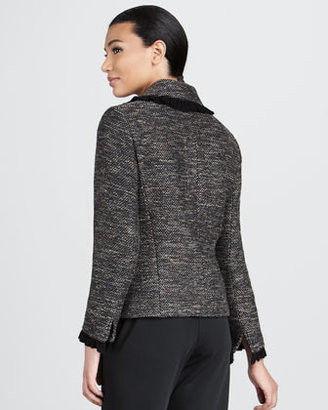 Caroline Rose Ruffle-Trim Tweed Jacket