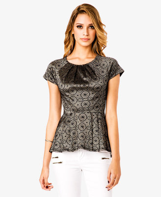 Forever 21 Pleated Embroidered Peplum Top