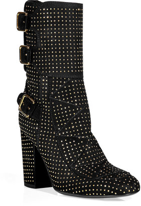 Laurence Dacade Black suede half boots with gold studs
