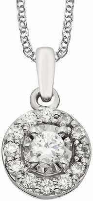 FINE JEWELRY 1/4 CT. T.W. Diamond 10K White Gold Round Framed Pendant Necklace
