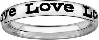 "Stacks & Stones Sterling Silver Black Enamel ""Love"" Stack Ring"