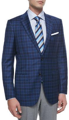 Ermenegildo Zegna Plaid Two-Button Sport Coat, Navy/Light Blue $2,495 thestylecure.com