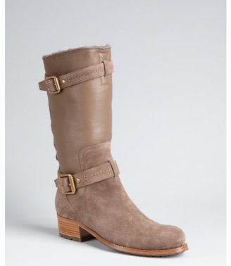 Christian Dior cement leather and suede buckle strapped boots