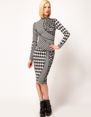 Asos Pencil Dress In Dogtooth And Animal Print