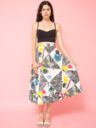 American Apparel Vintage Colorful Print Mid-Length Skirt