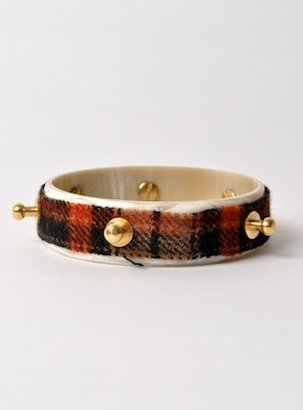 Young British Designers Single Bolt Tartan Horn Bracelet (Red) by J.W.Anderson