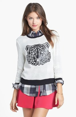artee couture Faux Leather Tiger Sweater (Juniors)