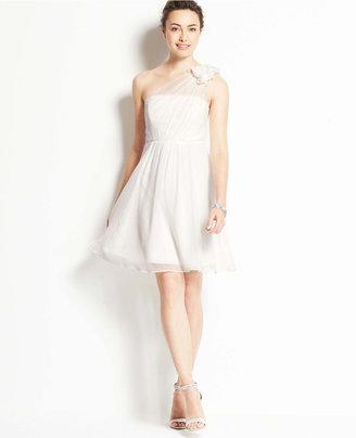 Ann Taylor Silk Georgette Floral One Shoulder Dress
