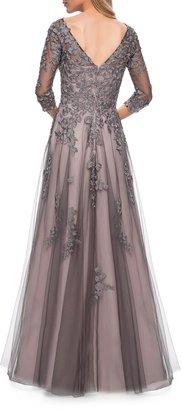 La Femme V-Neck 3/4-Sleeve Tulle Gown w/ Lace Applique