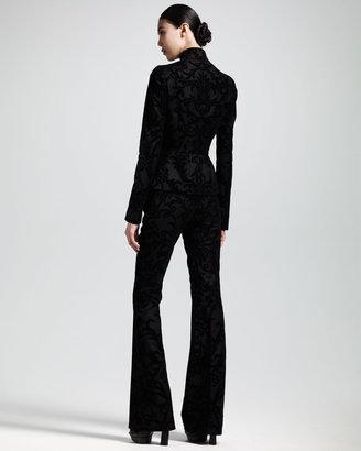 Alexander McQueen Flocked Flannel Mandarin-Collar Jacket